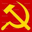 Russian or Communist hammer and sickle sign or flag.